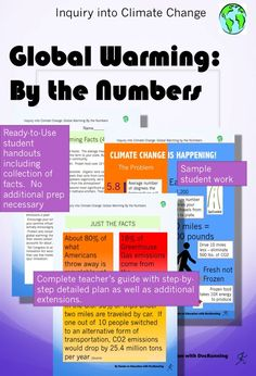 Global warming by the numbers - because every day is Earth Day. Get your students thinking about the numbers and using them as tools for persuasion. So many cross-curricular connections in this Common Core aligned project.