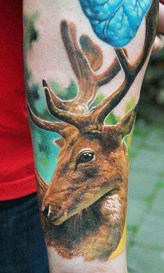 Realistic Deer Head Tattoo on Arm