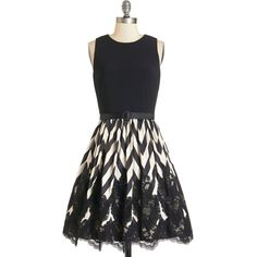 ModCloth Sleeveless A-line Anticipated Performance Dress featuring polyvore fashion clothing dresses black apparel black cocktail dresses black lace dress special occasion dresses lace cocktail dress party dresses