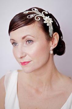 Flapper 1920's Art Deco headband, Vintage, Bridal headband, Rhinestone, Pearl, Wedding headband,. $150.00, via Etsy.