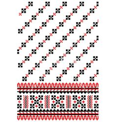Ukrainian embroidery ornament vector image on VectorStock Stitch 2, Cross Stitch, Enamels, Vector Art, Mittens, Traditional, Embroidery, Ornaments, Knitting