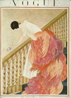 "artornap: "" Vogue magazine cover 1924 Lady Staircase Feather Boa New York Winter Fashion Illustration Vogue Poster Art Deco Home Decor Print Fine Art """