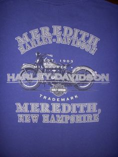 HARLEY DAVIDSON MEREDITH NEW HAMPSHIRE Blue T-SHIRT XL X-LARGE #HarleyDavidson #GraphicTee