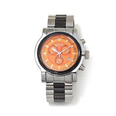 Croton Swiss Movement Orange Dial Stainless Steel and Ceramic Bracelet Chronograph Watch