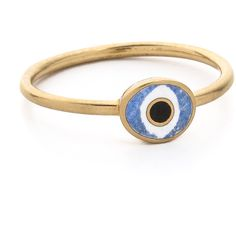 Holly Dyment Mini Evil Eye Ring (8.066.640 IDR) ❤ liked on Polyvore featuring jewelry, rings, blue, charm jewelry, evil eye jewelry, tri color ring, multicolor ring and 18 karat gold jewelry
