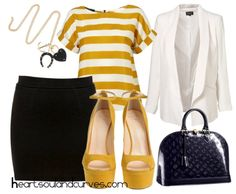 Black skirt, mustard shirt, white cardigan/blazer