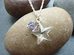 Swarovski Star Silver Plated Necklace with sparkly Swarovski crystal beads in shades of lavender and lilac. This is a very pretty pendant