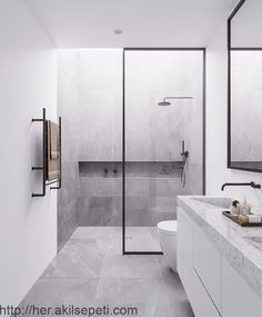 Dreaming of a designer or luxury bathroom? We've gathered together lots of gorgeous bathroom ideas for small or large budgets, including baths, showers, sinks and basins, plus bathroom decor ideas. Modern Bathroom Design, Contemporary Bathrooms, Bathroom Interior Design, Minimalist Bathroom Design, Bad Inspiration, Bathroom Inspiration, Interior Design Inspiration, Kids Boy, Mawa Design