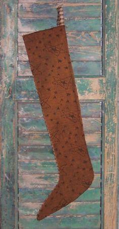 Primitive Skinny Christmas Stocking, mustard with stars, by PrairiePrimitives.