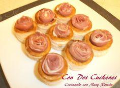 ConDosCucharas.com Volovanes con mermelada de higos y jamón - ConDosCucharas.com Tapas, Cheesecake, Desserts, Food, Fig Jam, Appetizer Recipes, Deserts, Tailgate Desserts, Cheesecakes