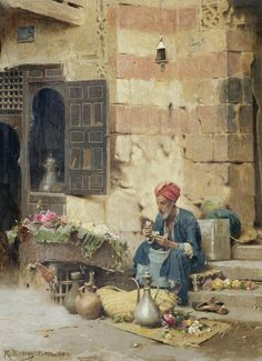 Orientalist Art Print featuring the painting The Flower Seller by Raphael von Ambros Jean Leon, Empire Ottoman, Middle Eastern Art, Arabian Art, Islamic Paintings, Old Egypt, Academic Art, Le Far West, Arabian Nights