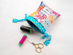 scrappy drawstring pouch by ImAGingerMonkey, via Flickr