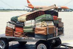 Airport baggage cart Stock Photo