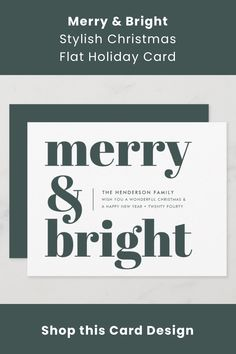 """A stylish modern flat holiday greeting card with a bold retro typography quote """"merry & bright"""" in dark forest green on a white background with a complementary feature color on the reverse. The greeting, message and name can be easily customized to suit your needs. A trendy fun design to stand out this holiday season! Green Christmas, Christmas Holidays, Christmas Cards, Retro Typography, Typography Quotes, Family Wishes, Minimalist Christmas, Holiday Greeting Cards, Dark Forest"""