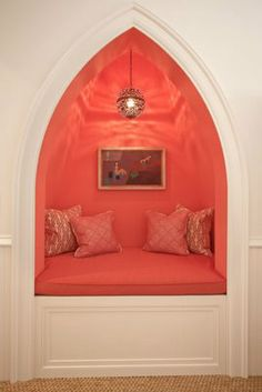 LOVE a gothic arch especially on this little hideaway nook.