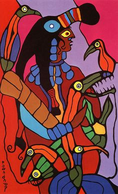YoungShamanWithPowers-by artist Norvald Morrisseau South American Art, Native American Art, Woodland Art, Inuit Art, Native Art, Native Indian, Indian Artist, Indigenous Art, Art Themes