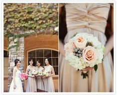 tan bridesmaids' dresses and peach bouquets
