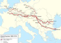 German map of the Orient-Express passenger train (1883-1914).