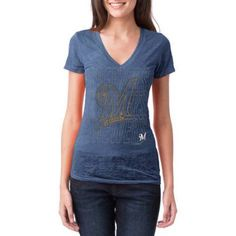 Milwaukee Brewers Womens Short Sleeve Burnout Graphic Tee, Women's, Size: XL, Blue