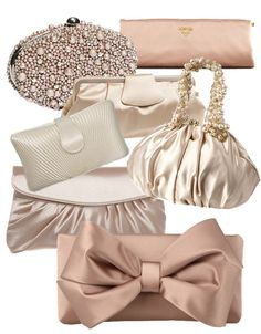 * Prada ~ clutches for bridesmaids Prada Clutch, Clutch Purse, Wedding Clutch, Wedding Shoes, Sacs Design, Pearl Chain, Prada Handbags, Evening Bags, Evening Clutches