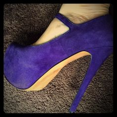 H by Halston Mary Janes pumps. Size 6. Super sexy In excellent condition. Super sexy. Beautiful royal purple color. Real suede. Heel is over 4 inches high. Does not come in original box H by Halston Shoes Heels