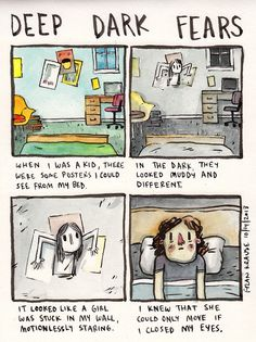 Animator Fran Krause has a webcomic where he draws his fears and those that people submit. It& utterly horrifying. Scary Comics, Funny Comics, Creepy Stories, Horror Stories, Fran Krause, Image Triste, Fear Book, Deep Dark Fears, The Awkward Yeti