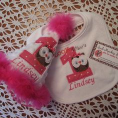 Owl, Personalized  Appliqued First Birthday Hat and Bib Set