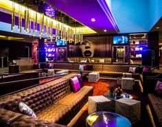 Hard Rock Hotel bar and lounge in Palm Springs, California, by Mister Important Design. Photography by Chris Miller. Lounge Bar, Lounge Club, Hookah Lounge, Lounge Design, Design Design, Cafe Bar, Pub Bar, Nightclub Bar, Nightclub Design