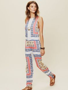 Totally reminds me of Stella McCartney's patterns used in her Fall collection. Free People Bowie Jumpsuit, $130.00