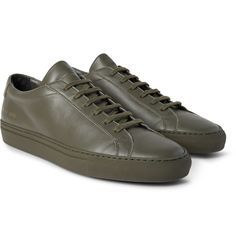 This army-green version of <a href='http://www.mrporter.com/mens/Designers/Common_Projects'>Common Projects</a>' hallmark 'Original Achilles' sneakers will become one of the most versatile options in your wardrobe. Whether you sport them with sweats or soft tailoring, the supple leather construction, sleek silhouette and gold-stamped serial numbers exude quiet cool.