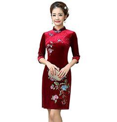 db9104b6d YueLian Women's Velvet 3/4 Sleeves Winter Qipao Chinese Cheongsam Short  Dress (China S= US 0, purple)
