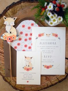 Woodland Fox baby shower- {Life} My little fox baby shower Invitation by Kelli Murray