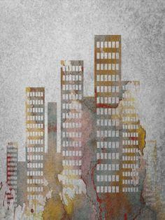 City Skyline - Urban Decay Art Print by Ally Coxon on … Architecture Blueprints, Architecture Art, Decay Art, Stencil, New York Graffiti, Spray Paint Art, London Skyline, Outline Drawings, Building Art