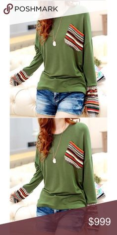 Boho Top Gorgeous long sleeve fashion Boho Top! I love the green! The shirt is soft and I love the pattern. This would look awesome with washed denim and boots! Tops Tees - Long Sleeve