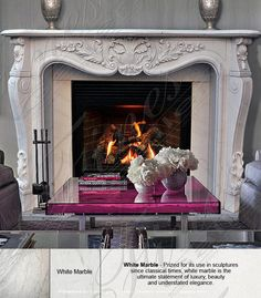 Marble Mantels | Fireplace Mantles | Marble Fireplaces | Hearths | Mantels | Custom Designed White Fireplace  White Fireplace  MFP-1272