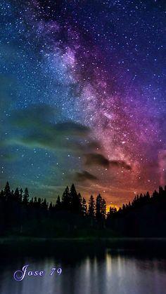 Beautiful Nature Wallpaper, Beautiful Sky, Beautiful Landscapes, Night Sky Painting, Galaxy Painting, Night Sky Wallpaper, Galaxy Wallpaper, Watercolor Landscape, Landscape Paintings