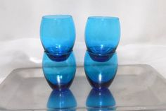 1960s Aqua Blue Cordial Liqueur Glasses by Beadgarden55 on Etsy