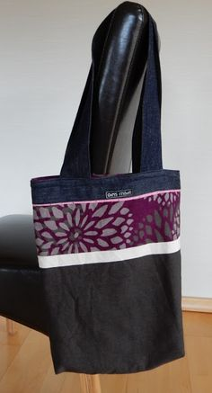 Shopping bag made from old pair of jeans and scraps of fabric / Einkaufstasche aus Stoffresten und Jeans / Upcycling