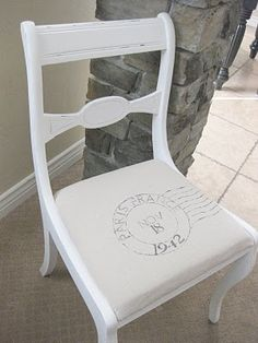 a painted chair with a postmark... it's so me!