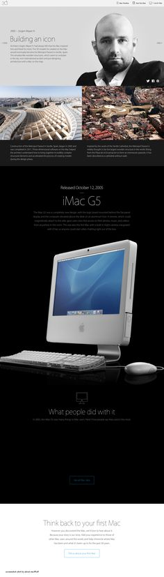 "Apple Mac @30 2014-01-24 off'l Anniversary mini site: USA ""Apple - Thirty Years of Mac"" - page: 2005 pioneering modern organic Architecture [by merging Steve Job's favorites: Liberal Arts & Hi-Tech + breaking rules as the Crazy Ones (1997 Think Different)...through  amoeba-like wooden structures, seeming to undulate in the sky, such as his Metropol Parasol in Seville, Spain]: Jürgen Mayer H. • http://www.apple.com/30-years/2005"