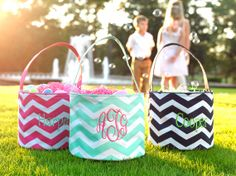 CHEVRON EASTER BASKETS Personalized by CelebrationStitches on Etsy, $20.95