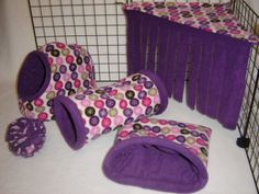 Purple snowflakes in dots Set of 5... Hidey Hut, Cozy Cave, Tunnel, Peek-a-Boo corner, and fleece ball.