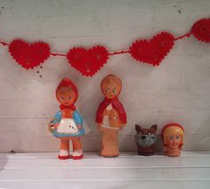 red crochet heart garland by verycute on Etsy, $9.75