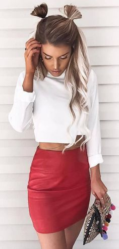 #summer #outfits  White Crop Top + Red Leather Skirt
