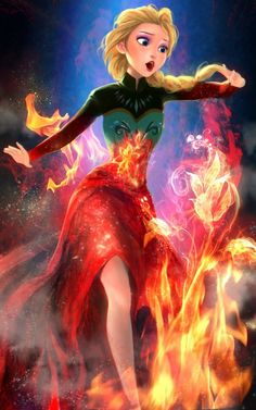 Fire!Elsa/ it would've been even cooler if we could see her hair darkening