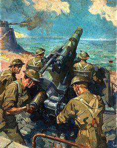 ... coastal battery [UK]  WW2, history, propaganda, United Kingdom