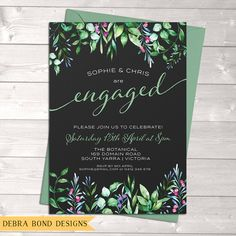 Engagement invitation, wedding invitation, chalkboard, watercolour leaves, digital customised printable
