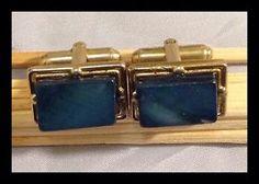 Denim Blue Mother OF Pearl Gold Toned Cufflinks | eBay