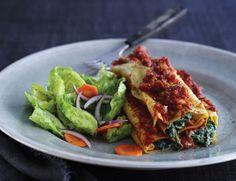 Italiensk cannelloni med spinat-ricottafyld og tomatsauce