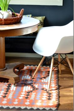 make a rug with a dropcloth and paint. Full tutorial. full tutori, idea, kitchen tables, drop cloth, new kitchens, paints, tribal prints, dropcloth, diy rugs